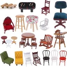 Simulación de pequeño sofá taburete silla muebles modelo juguetes para muñeca casa decoración 1:12 casa de muñecas accesorios en miniatura