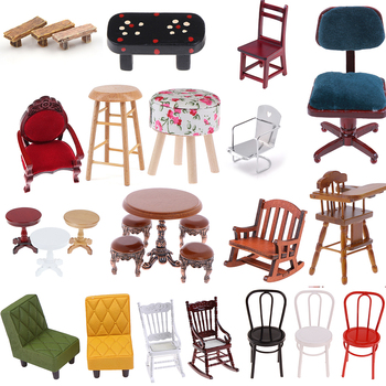 Simulation Small Sofa Stool Chair Furniture Model Toys For Doll House Decoration 1:12 Dollhouse Miniature Accessories
