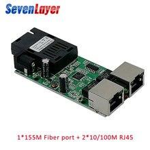 Fiber Optical Media Converter 2 RJ45 1 SC 10/100M Switch 20KM Ethernet mini  Single Mode fiber Port Board PCB