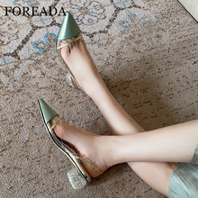 FOREADA Transparent Woman Shoes Slingbacks Real Leather Med Heels Crystal Round Heel Female Footwear Pointed Toe Pumps Lady 40 foreada woman high heels natural genuine leather slingbacks shoes buckle stiletto heel footwear pointed toe lady pumps beige 40