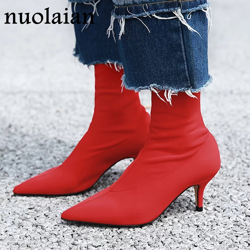 Buy 2019 Winter Women Boot Stretch Fabric Ankle Boots 6CM High Heels Snow Boots Woman Autumn Bottine Ladies Motorcycle Boot for only 41 USD