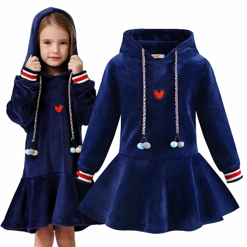 Осенне-зимнее плотное теплое бархатное платье с капюшоном для девочек детские рождественские платья, одежда для девочек от 4 до 14 лет, Vestidos