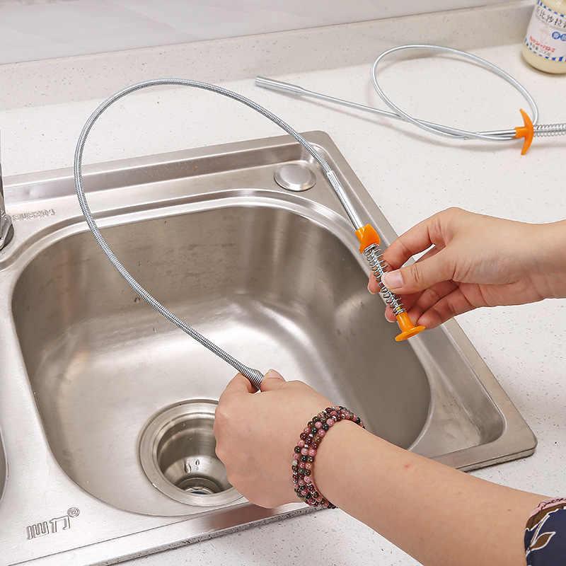 Sıcak 60cm kanalizasyon temizleme fırçası ev bükülebilir lavabo küvet tuvalet derin su borusu yılan fırçası araçları yaratıcı banyo mutfak aksesuarları
