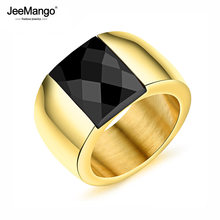 Trendy Black Square Mosaic Men's Ring Gold Color Punk Style Stainless Steel 14mm Width Finger Ring For Boy JR19082(China)