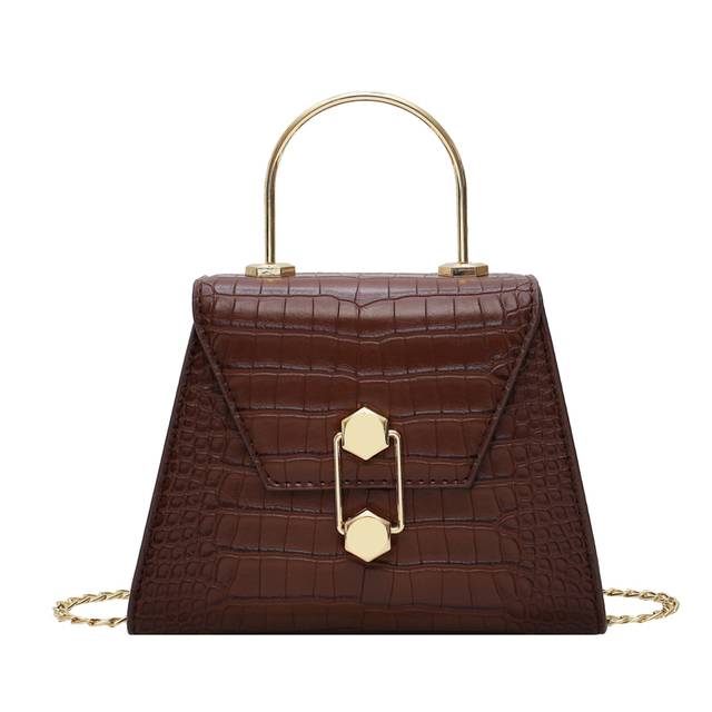 Stone Pattern PU Leather Crossbody Bags For Women 2020 Small Totes With Metal Handle Lady Shoulder Messenger Bag Handbags 5