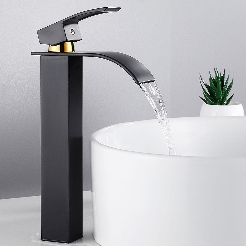 Bathroom Basin Faucet Deck Mount Waterfall Bathroom Faucet Vanity Vessel Sinks Mixer Tap Single Handle Cold And Hot Water Tap