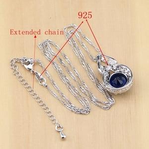 Image 5 - 925 Zilveren Sieraden Blauwe Zirconia Sieraden Witte Zirkonia Vrouwen Oorbel Hanger Ketting Ringen Armband Partij Sieraden Sets