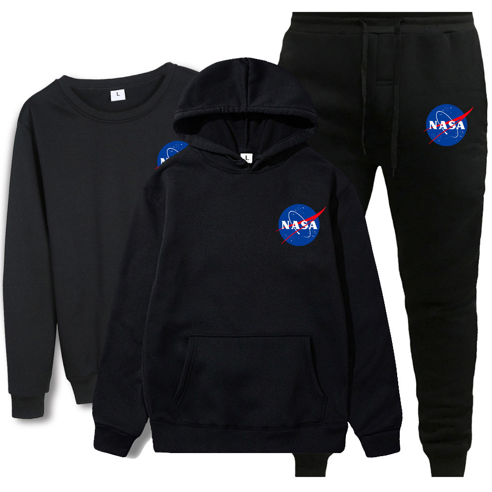 Autumn & Winter New Style NASA Printed Round Neck Sweater 3 Pieces Hoodie Sweatpants Sports Set