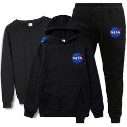 Herbst & Winter Neue Stil NASA Gedruckt rundhals Pullover 3 Stück Hoodie Jogginghose Sport Set