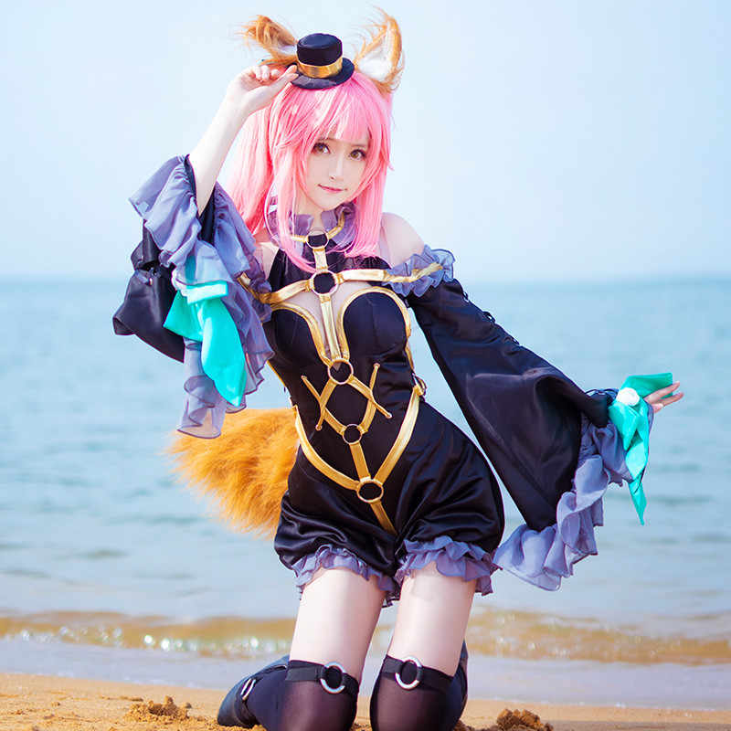 Fate Grand Order Fate/extra Tamamo No Mae Black Magician Cosplay Costume Magic Uniforms Black Fancy Dress Free Shipping