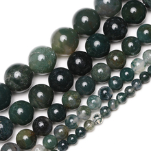 Wholesale Natural Semi-Precious Stone Moss Agates Round Loose Beads 15'' Strand 4 6 8 10 12 MM For Jewelry Making DIY Necklace