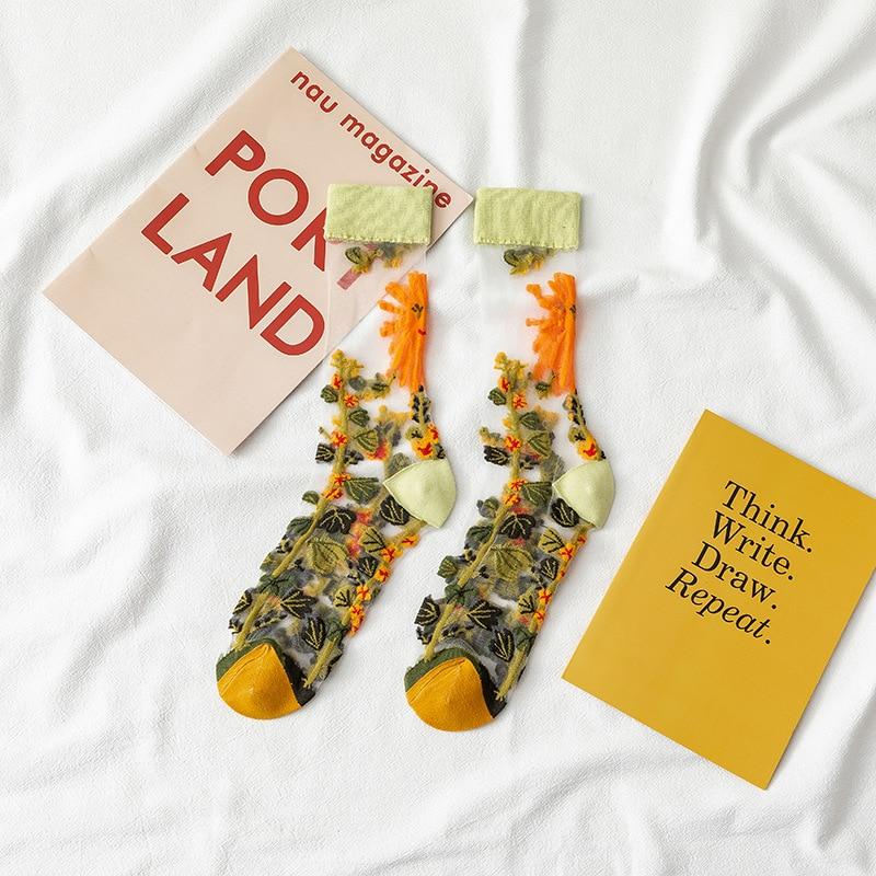 Creative Harajuku New Product Crystal Silk Tide Socks Funny Sunflowers Vines Flowers Happy Women Socks Casual High Quality Sox