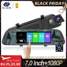 E ACE 7.0 인치 터치 자동차 DVR 미러 FHD 1080P 비디오 레코더 자동 등록자 대시 카메라 후면보기 카메라와 듀얼 렌즈