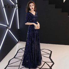 It's Yiiya Sequined Formal Dress V-Neck Half Sleeve A-Line Evening Dresses for Women Plus Size Lace Up Floor Length Dress K366 brief women s v neck plus size half sleeve lace dress