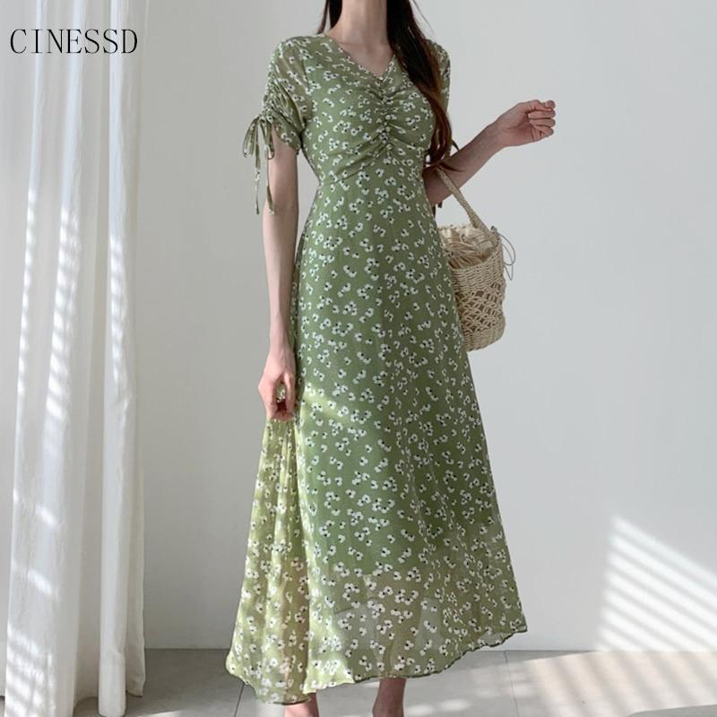 Floral Print Boho Dress Women Chiffon Long Summer Dress Ladies Vintage V Neck Dresses New Arrival 2020 Robe Femme