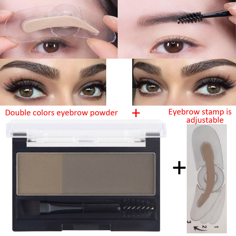 2 Colors Eyebrow Enhancers Powder Palette Long Last Waterproof Eyebrow Pigment With Eye Brow Brush Tool Women Daily Cosmetics