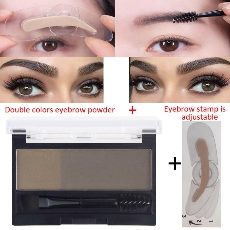 2 Colors Eyebrow Enhancers Powder Palette Long Last Waterproof Eyebrow Pigment With Eye Brow Brush Tool Women Daily Cosmetics