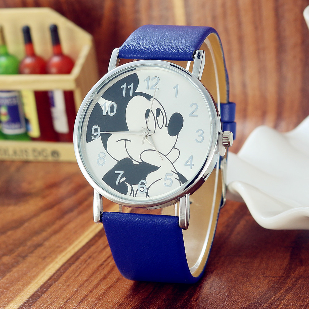 Reloj Infantil Children Watch Women Fashion Casual Girls Boys Students Clock Mickey Kids Watches Leather Quartz Wristwatches