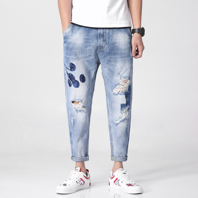 Spring And Summer New Style Harem Jeans Skinny Embroidered With Holes Capri Pants Men-Style Fashion-Harem Jeans Men's