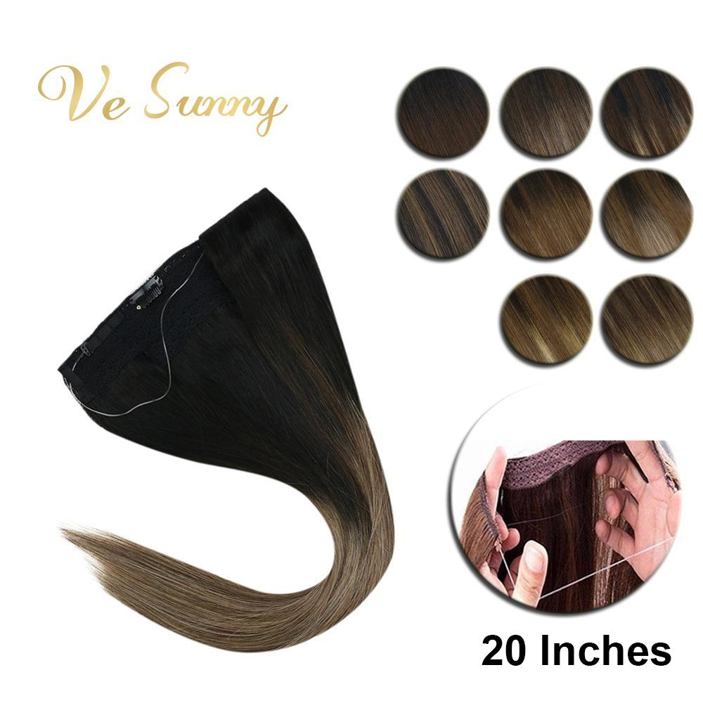 VeSunny Invisible Wire Halo Hair Extensions Human Hair Flip In Fish Line With Clips On Balayage Ombre Highlights 20 Inches 100gr