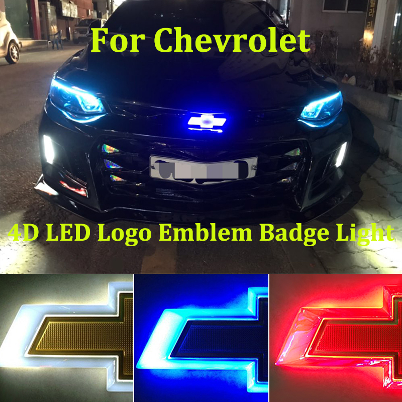 4D Badge Logo Light For Chevrolet Captiva Niva Tahoe Orlando Cruze Accessories Camaro нива Lacetti LED Emblem Badge Logo Light