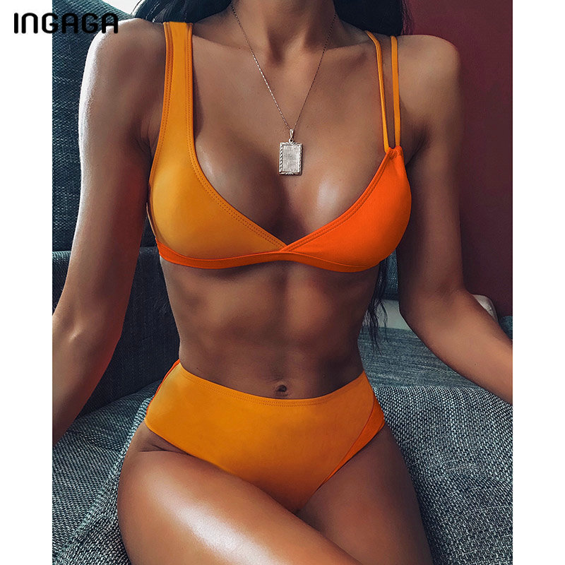 INGAGA 2020 Push Up Bikini Sexy V-neck Wrap Swimwear Women High Waist Swimsuit Female Double Strap Bathers New Patchwoak Biquini