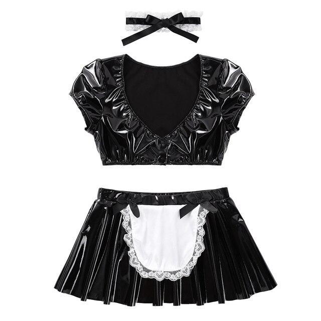 Erotic Wetlook French Maid Cosplay Costume #C1539 4