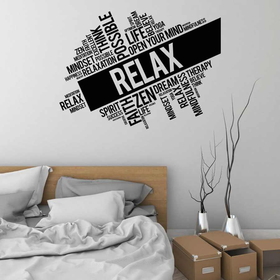 Relax Wall Decal Words Cloud Zen Meditation Room Spa Massage Interior Design Decoration Vinyl Wall Stickers Modern Mural S722 Aliexpress