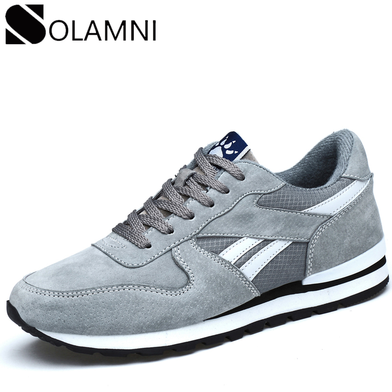 Sneakers Flats Fit-Shoes Lightweight Non-Slip Genuine-Leather Mens Breathable Male Lace-Up