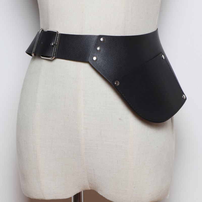 2020 New Design High Fashion Leather Belts For Women Solid Asymmetric Pocket Corset Belt Elastic Waistband Female Trendy ZL121