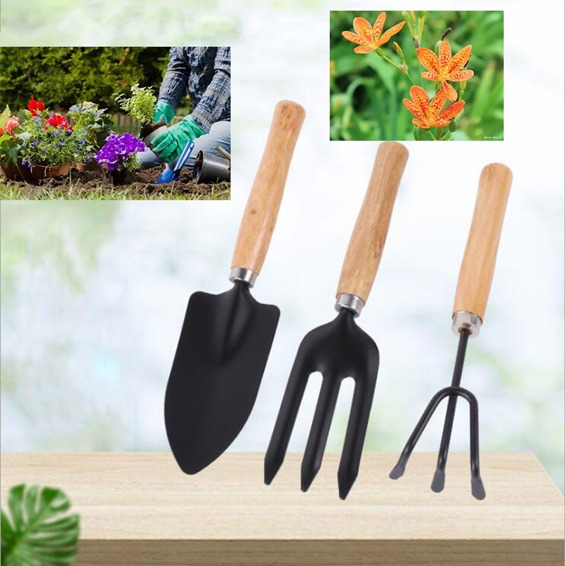 3 Pcs Iron-Made Garden Tool Set Anti-Rust Lightweight Easy to Carry for Flowers Trees Planting Soil Loosening Garden Decor Tool