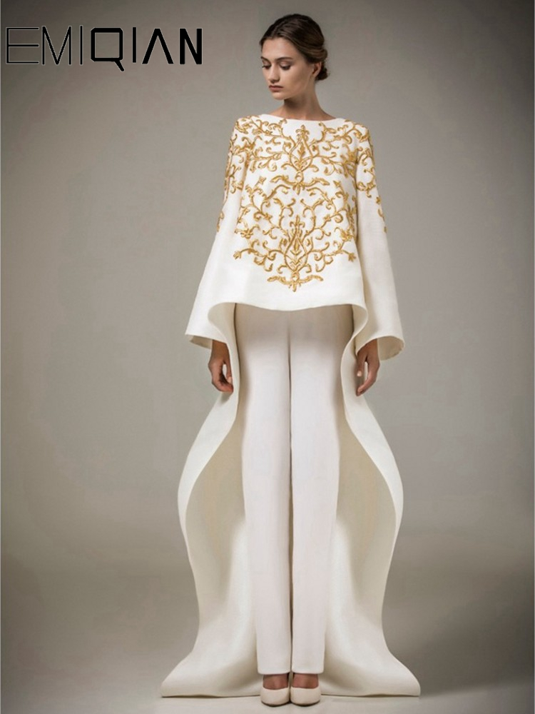 Ashi Studio Long Sleeves Muslim Evening Dresses 2016 O neck Embroidery Caftan Arabic Evening Party Gowns Vestido de Festa Longo