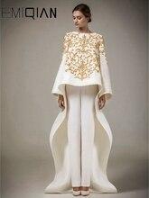 אשי סטודיו ארוך שרוולים מוסלמי ערב שמלות O צוואר רקמת קפטן ערבית ערב מסיבת שמלות Vestido דה Festa לונגו