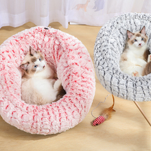 Cat Dog Bed Super Sofa Long Plush Pet Beds Cushion Mat Small House Puppy Kennel Cats Nest Cave Warm Sleeping Bag