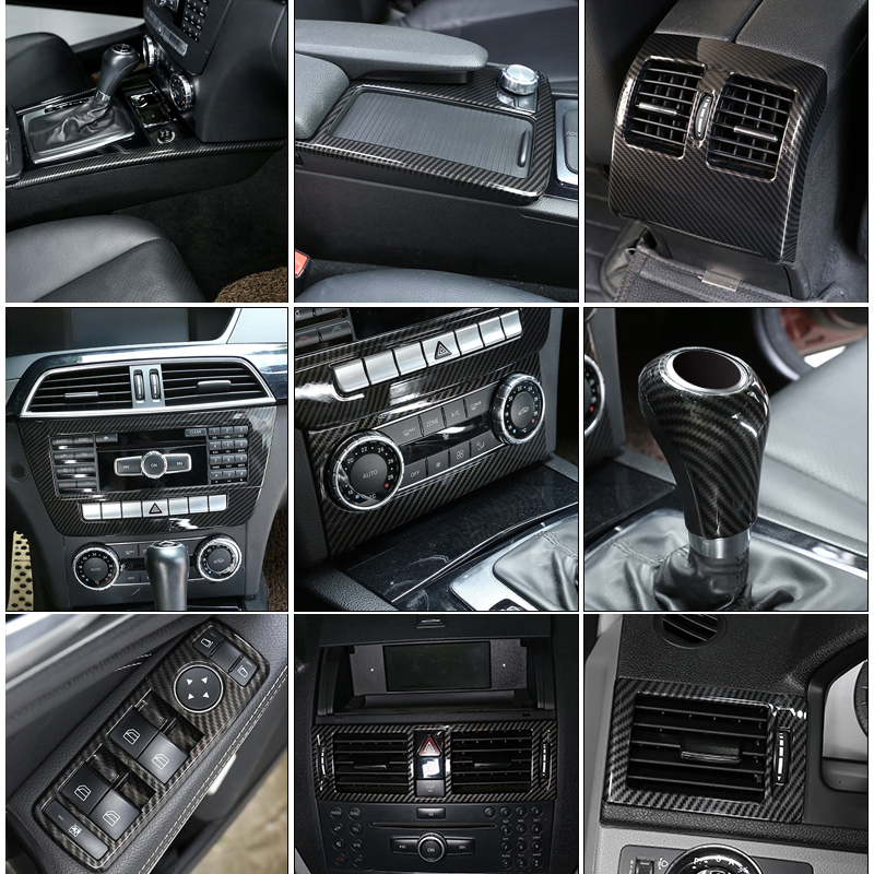 Carbon Fiber Car Interior Decoration Trim Stickers For Mercedes Benz C Class W204 C180 C200 2007-2013 Accessories