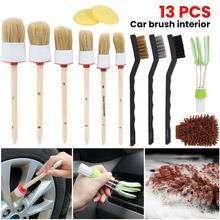 13pc Car Detailing Brush Kit Boar Hair Vehicle Auto Interior For Wheel Clean Set