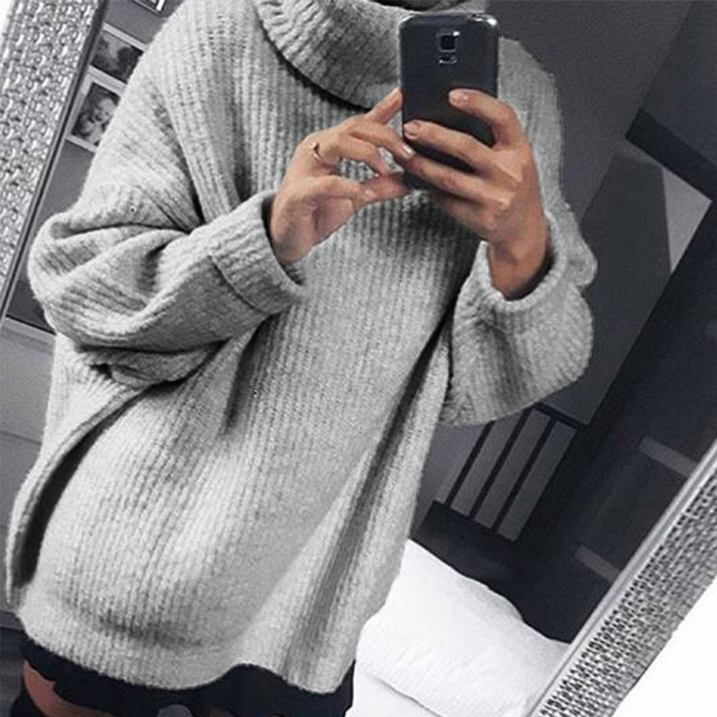 Women's Autumn Oversize Knitted Sweater Pullovers Long Batwing Sleeve Winter Solid Women Sweaters 2019 Casual Basic Top Jumper