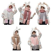 Girls 3 in 1 Hat Gloves Scarf Rabbit Ear Hoodie Earflap Stitching Colors Thick Cotton Velvet Cap for Lady Shawl H05D