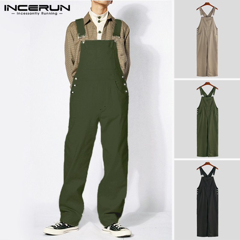 INCERUN 2019 Men's Jumpsuit Streetwear Joggers Rompers Solid Baggy Pockets Straight Pants Straps Stylish Suspenders Men Overalls