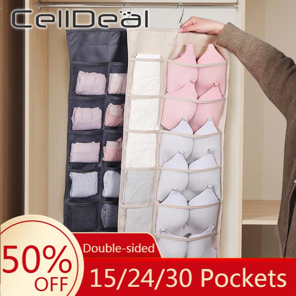 15/30/36 Pockets Hanging Organizer Double-sided Wardrobe Closet Storage With Pouch Reticulate Underwear Bra Sundry Organizer Bag