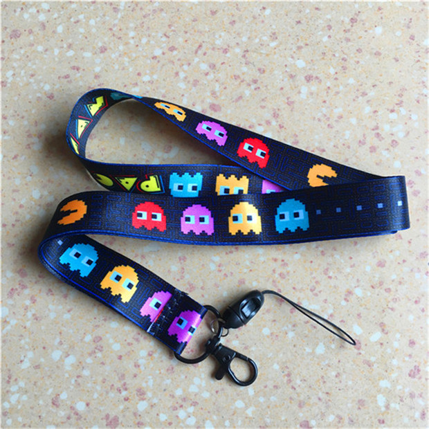 Game Pac-Man pacman Neck Strap Lanyard ID Badge Phone Key Holders Chain