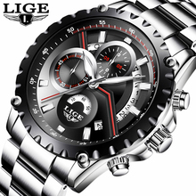 цена LIGE Men Watch Fashion Sport Quartz Watches Mens Top Brand Luxury Full Steel Business Waterproof Casual Watch Relogio Masculino онлайн в 2017 году