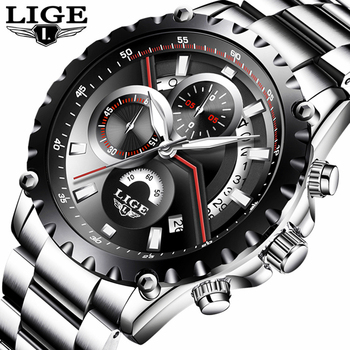 LIGE Men Watch Fashion Sport Quartz Watches Mens Top Brand Luxury Full Steel Business Waterproof Casual Watch Relogio Masculino famous brand mens wristwatches outdoor quartz sports watches fashion casual multifunction waterproof luxury sport watch men