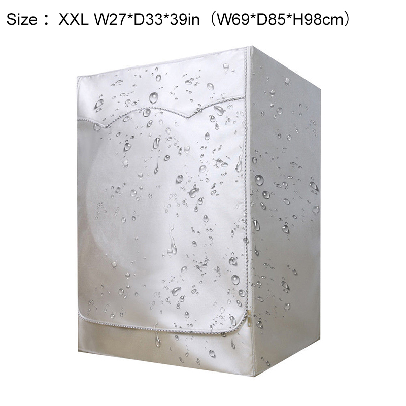 Silver Washing Machine Cover Waterproof And Dust-proof Washer Cover For Front Load Washer/Dryer Household Supplies image