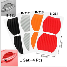 1Set=4Pcs Door handle carbon fiber protective film, scratch cover paste, car exterior protection paste