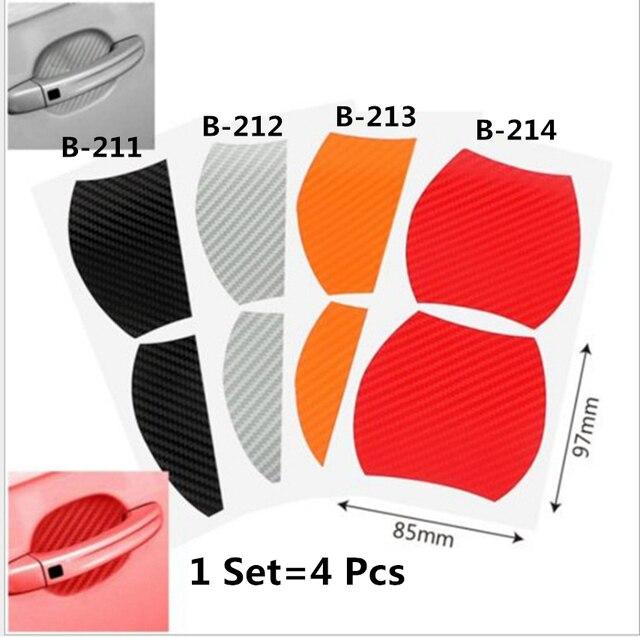 1Set=4Pcs Door handle carbon fiber protective film, scratch cover paste, car exterior protection paste