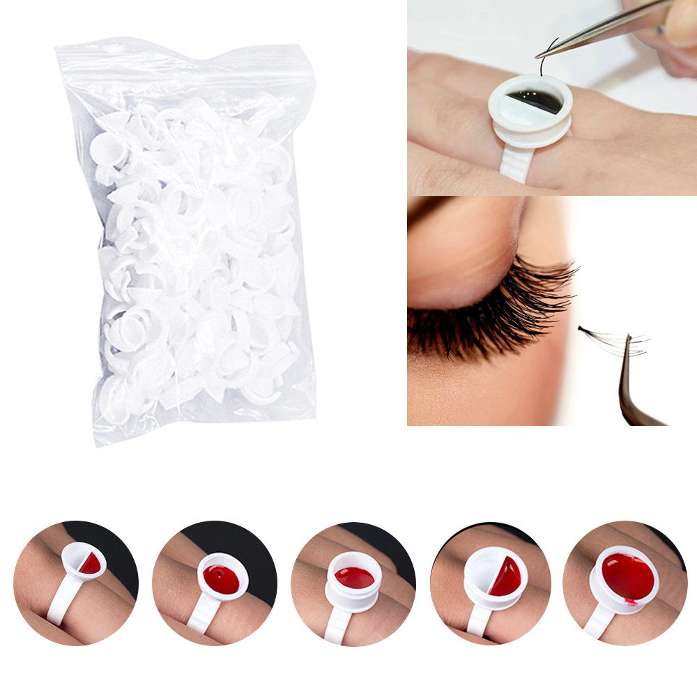 500pcs Disposal Tattoo Pigment Holder Ring With Grid Eyelashes Extension Adhesive Glue Holder Palette Eyelash Glue Rings