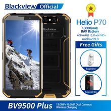 هاتف ذكي Blackview BV9500 Plus Helio P70 ثماني النواة 10000 مللي أمبير, مقاوم للماء 5.7 بوصة 4 خيخابايت + 64 خيخابايت أندرويد 9.0 هاتف محمول