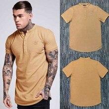 Yeni erkekler moda yaz ss Sik ipek Kanye West Sik ipek erkek rahat Hip Hop düzensiz kavisli Hem kısa kollu pamuklu tişört