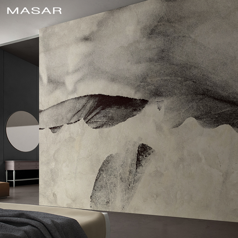 MASAR Chinese Element Abstract Mural Gray Ink Art Wallpaper Living Room Dining Room Background Wall Paper Lotus Leaf